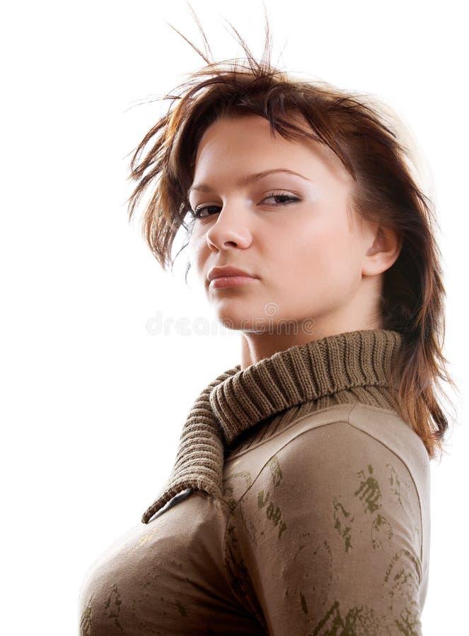 Donna su priorità bassa bianca fotografia stock libera da diritti