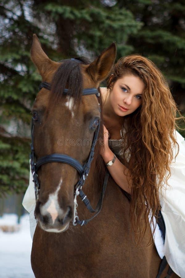 Donna Su Un Cavallo Fotografia Stock