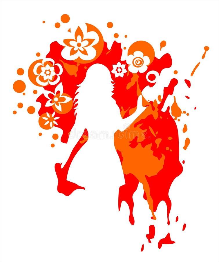 Donna su un color scarlatto della priorità bassa illustrazione vettoriale