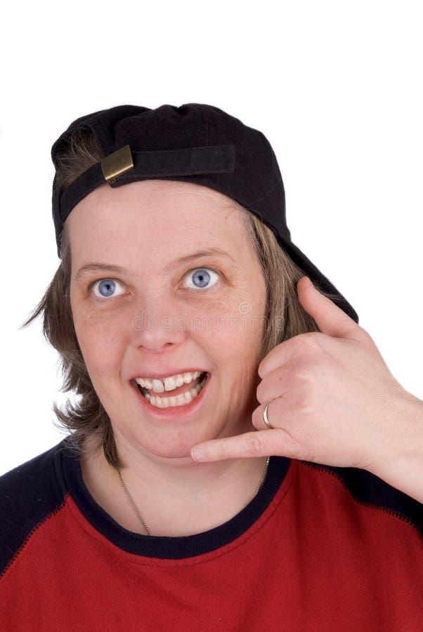 Donna su un telefono della mano di commedia immagine stock libera da diritti
