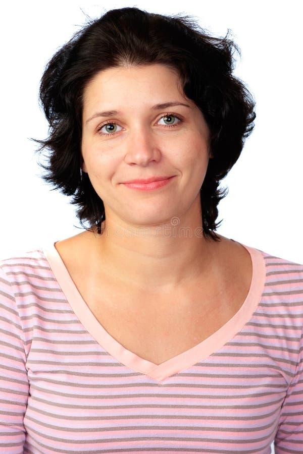Download Donna Su Una Priorità Bassa Bianca Fotografia Stock - Immagine di capelli, sorriso: 7315110