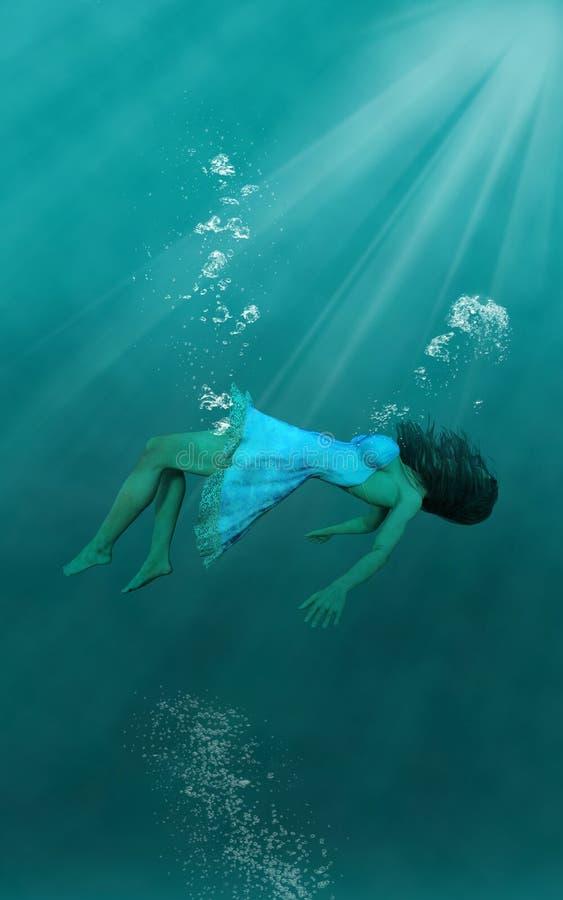 Donna subacquea surreale, fondo della carta da parati illustrazione vettoriale