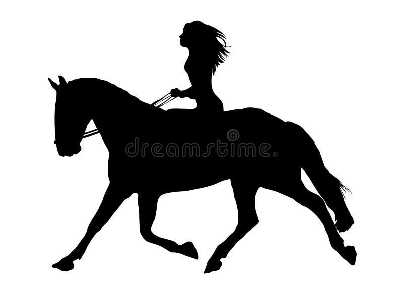Donna sul cavallo illustrazione di stock