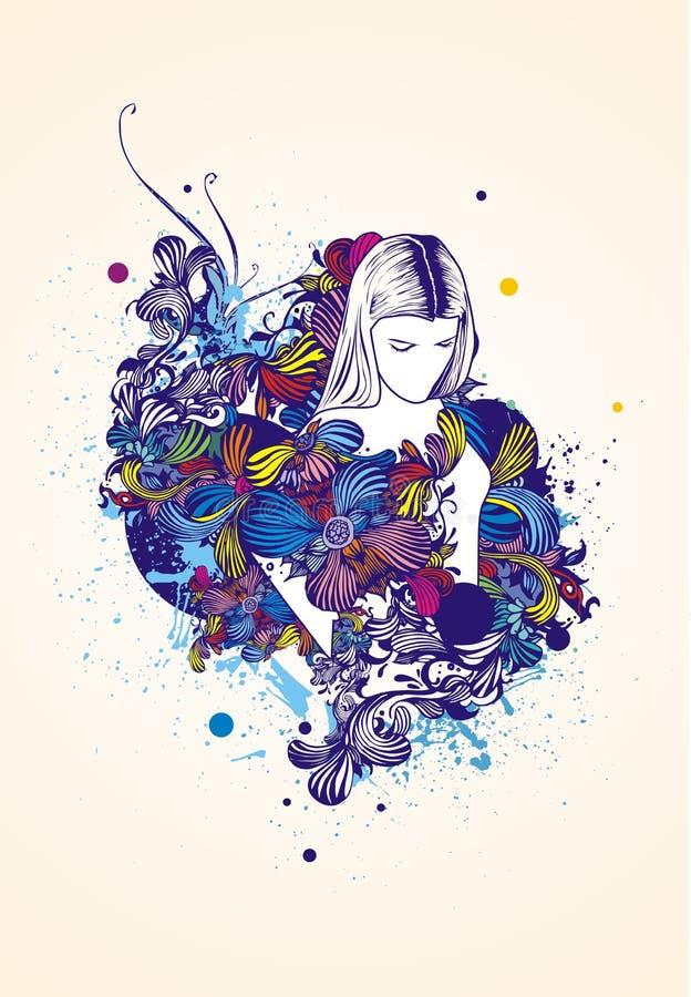 Donna sul disegno floreale illustrazione di stock