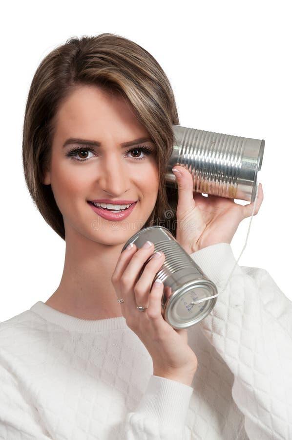 Donna sul telefono fotografie stock