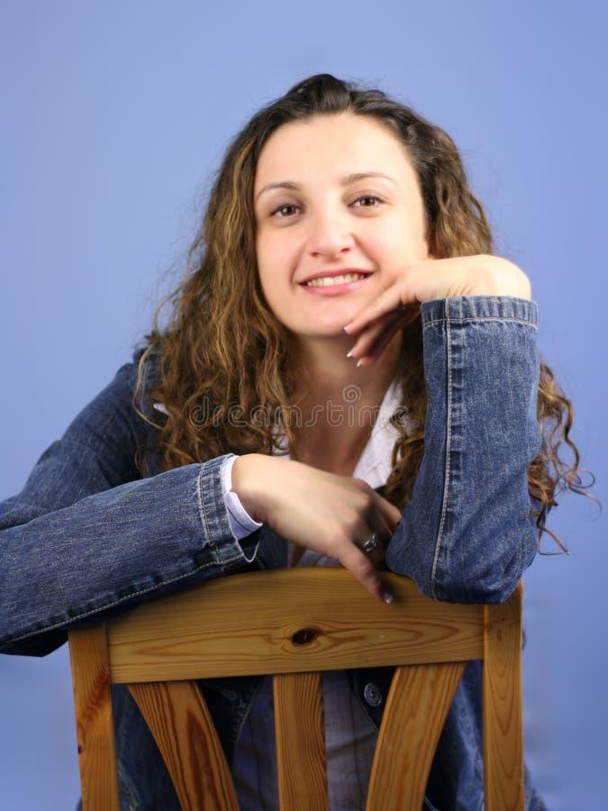 Donna Sull Azzurro IV Fotografia Stock Libera da Diritti