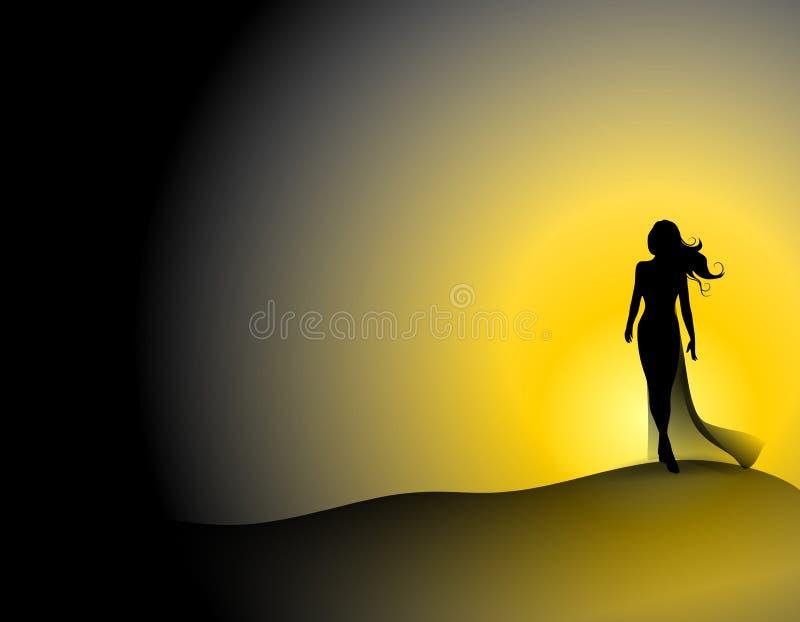 Donna sulla collina ventosa di tramonto illustrazione vettoriale