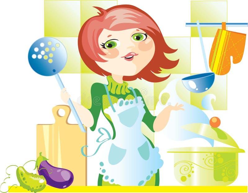 Donna sulla cucina illustrazione di stock