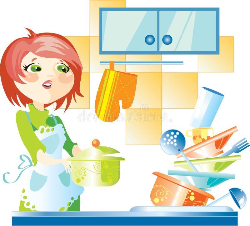 Donna sulla cucina illustrazione vettoriale