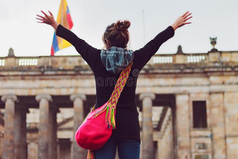 Donna sulla vacanza a Bogota Colombia fotografia stock