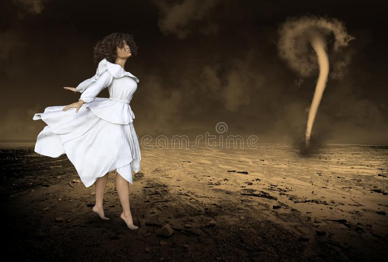 Donna surreale, fantasia, tornado, tempesta fotografia stock
