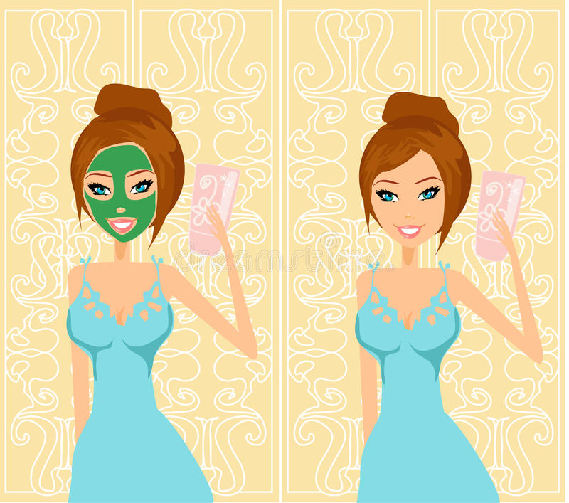 Donna sveglia che applica moisturizer illustrazione di stock