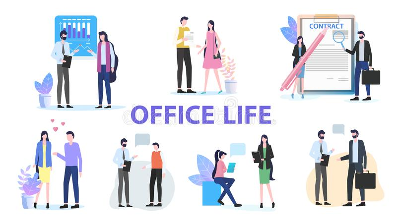 Donna Team Work Talk Contract Sign dell'uomo di vita dell'ufficio illustrazione vettoriale