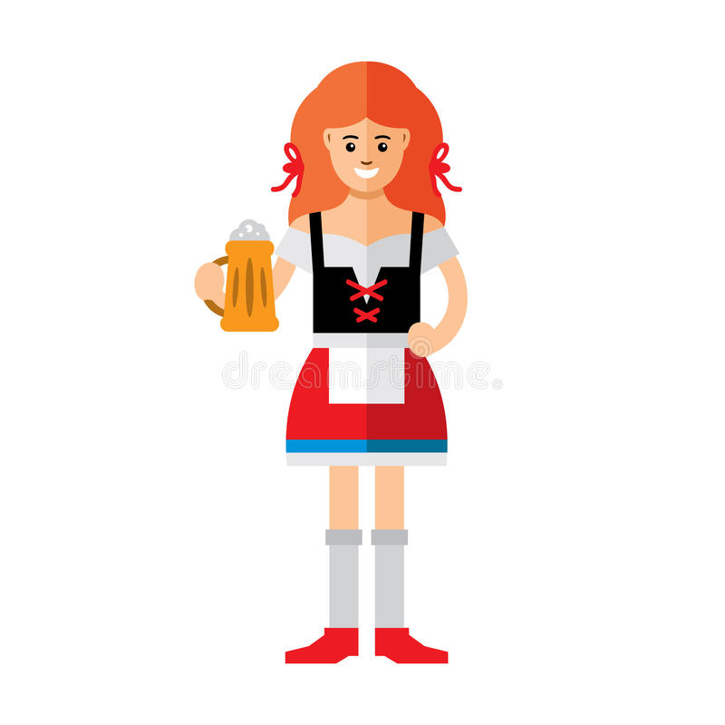 Donna tedesca di vettore con birra Illustrazione variopinta del fumetto di stile piano illustrazione vettoriale