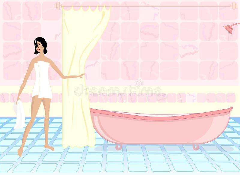 Donna - tempo del bagno illustrazione di stock