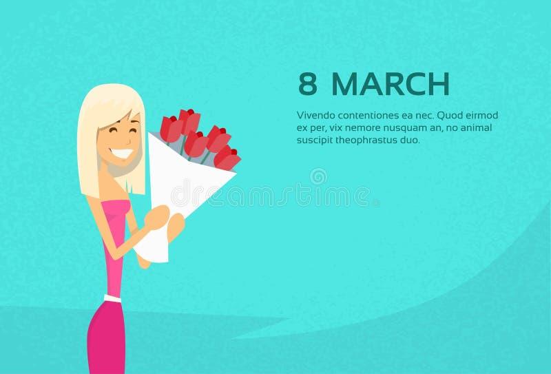 Donna tenuta Rose Flower Bouquet spazio della copia dell'8 marzo illustrazione di stock