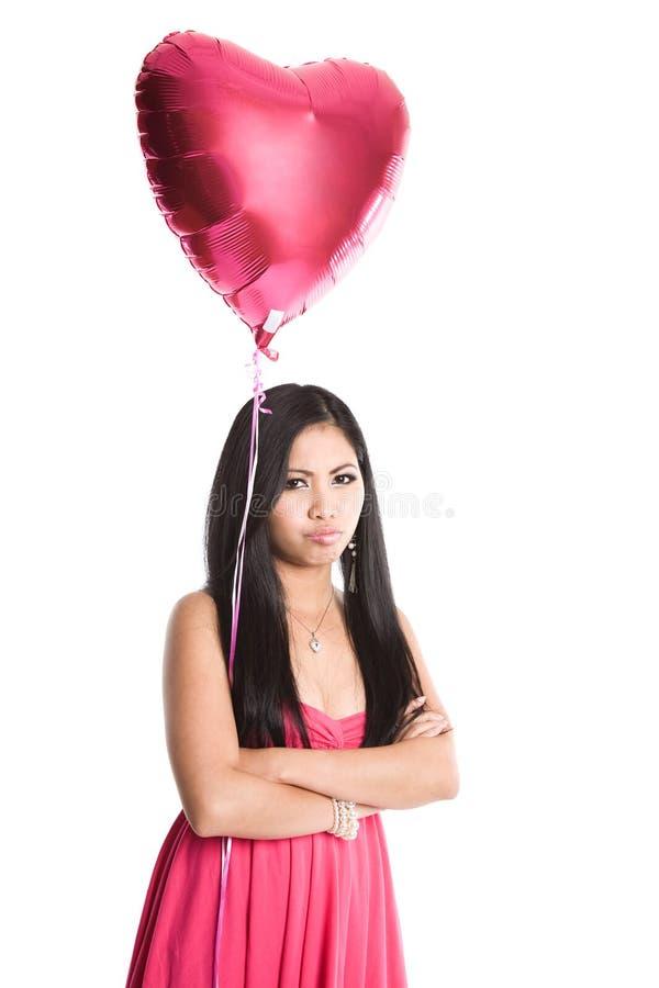 Donna triste dell'asiatico del biglietto di S. Valentino fotografie stock