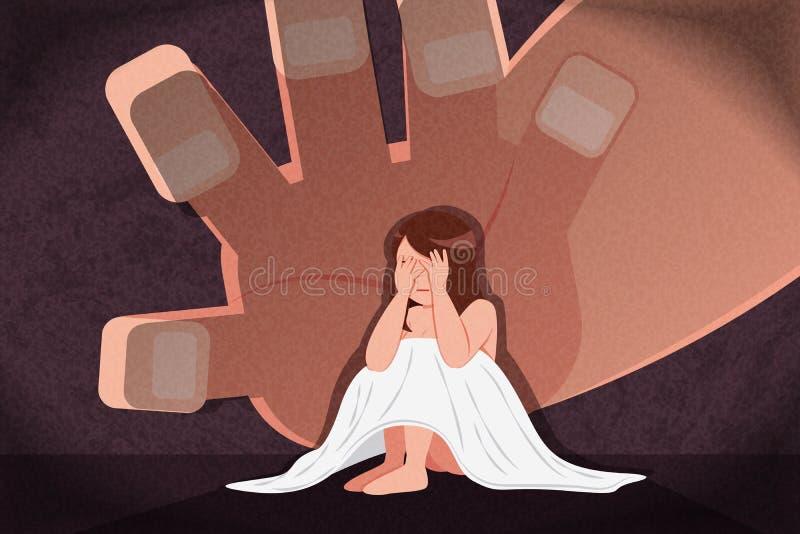Donna turbata e depressa illustrazione di stock