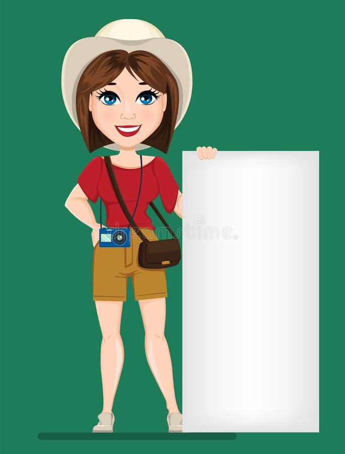 Donna turistica, viaggiatore che sta vicino all'insegna in bianco illustrazione vettoriale