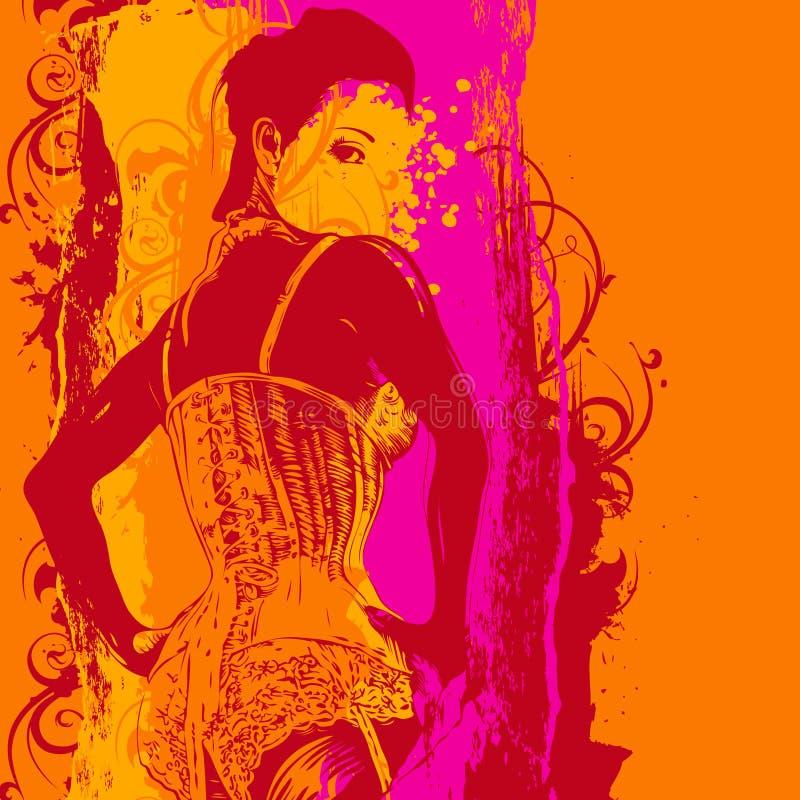 Donna in un corsetto e negli elementi di disegno illustrazione di stock