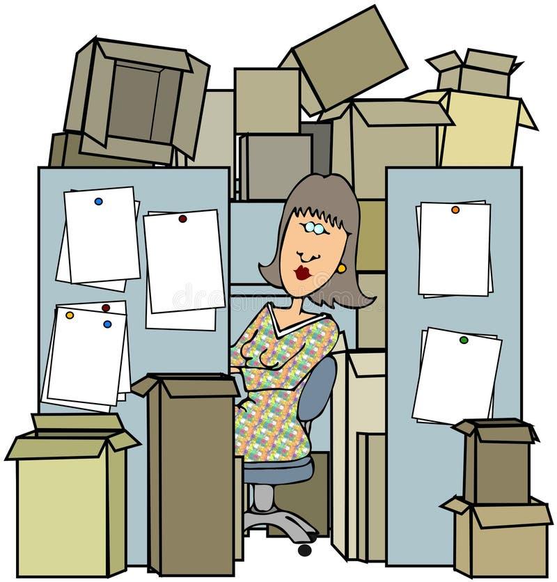 Donna in un cubicolo stipato di illustrazione vettoriale