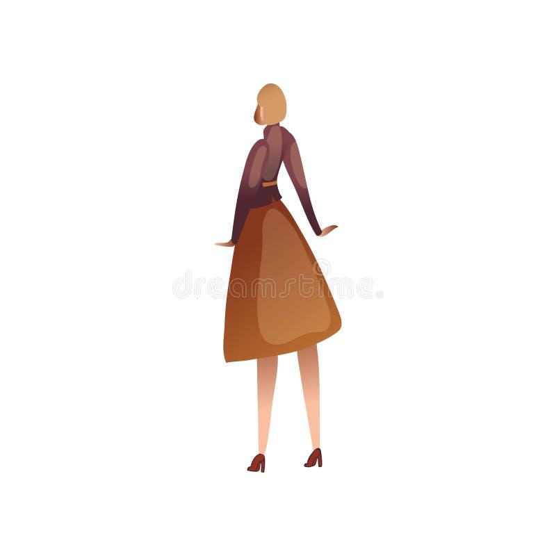 Donna in un rivestimento ed in una gonna Vista dalla parte posteriore Illustrazione di vettore su priorit? bassa bianca illustrazione vettoriale
