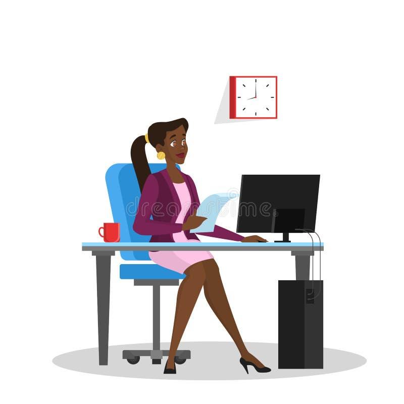 Donna in un vestito che si siede allo scrittorio ed al lavoro royalty illustrazione gratis