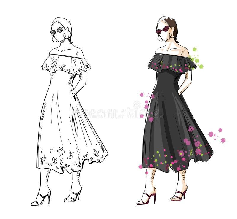 Donna in un vestito nero da estate, illustrazione di modo di vettore illustrazione di stock