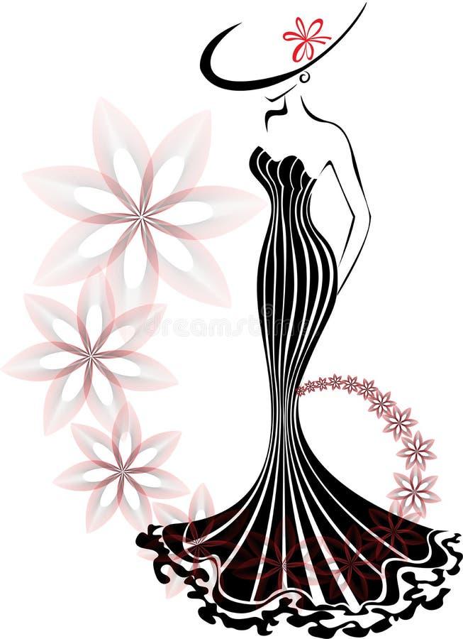 Donna in un vortice del fiore illustrazione di stock