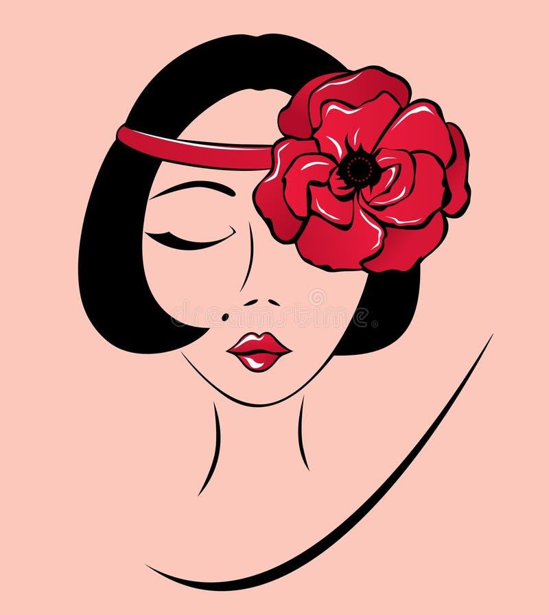 Donna in una fascia con il fiore del papavero illustrazione di stock