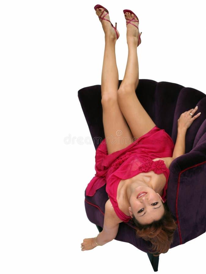 Download Donna in una presidenza fotografia stock. Immagine di gorgeous - 450648