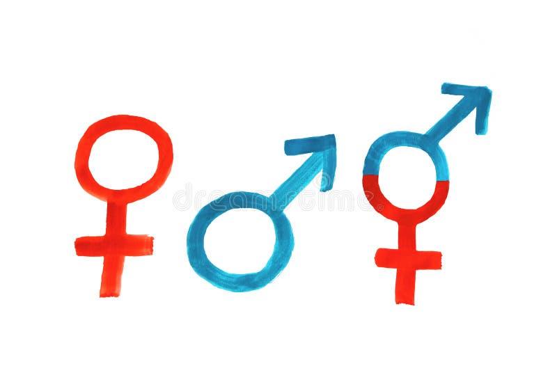 Donna-uomo-terzo genere, dipingente con i tre simboli fotografia stock