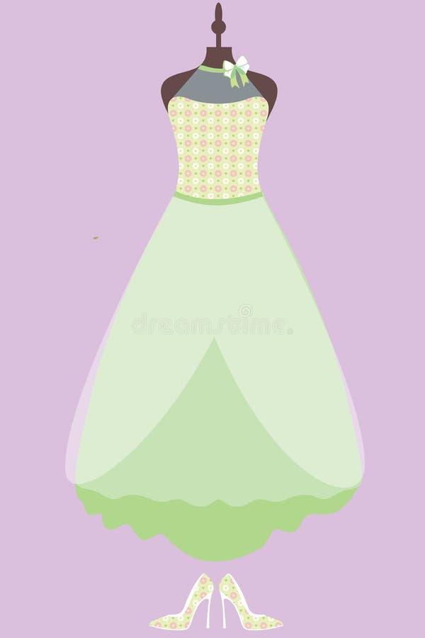 Donna verde del vestito da sposa moderna con le scarpe illustrazione di stock