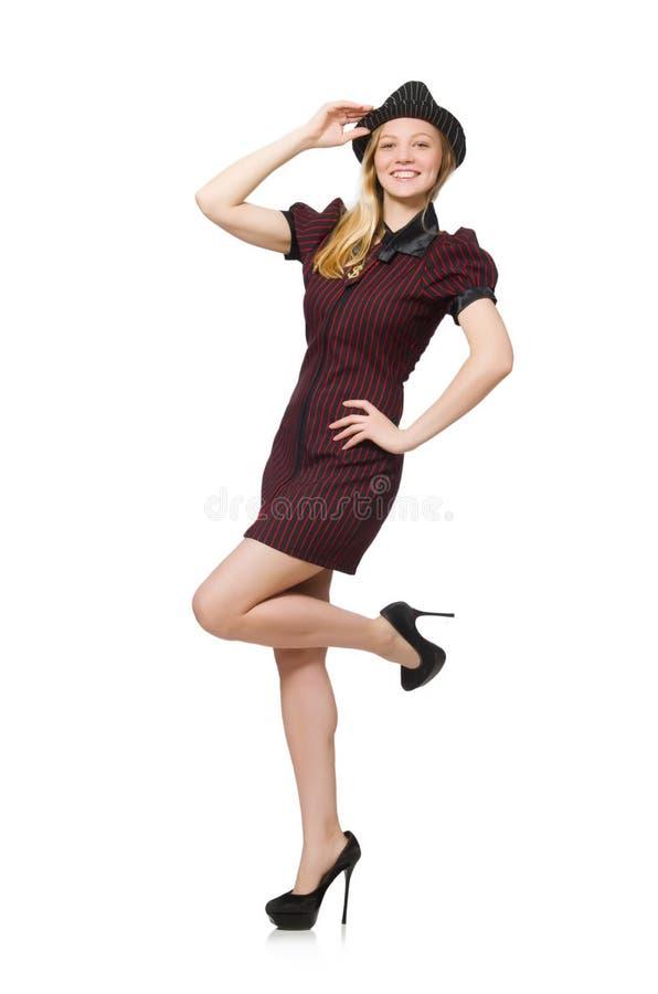 Donna vestita come gangster isolato fotografie stock