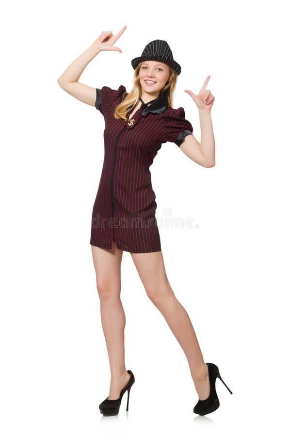Donna vestita come gangster isolato immagine stock