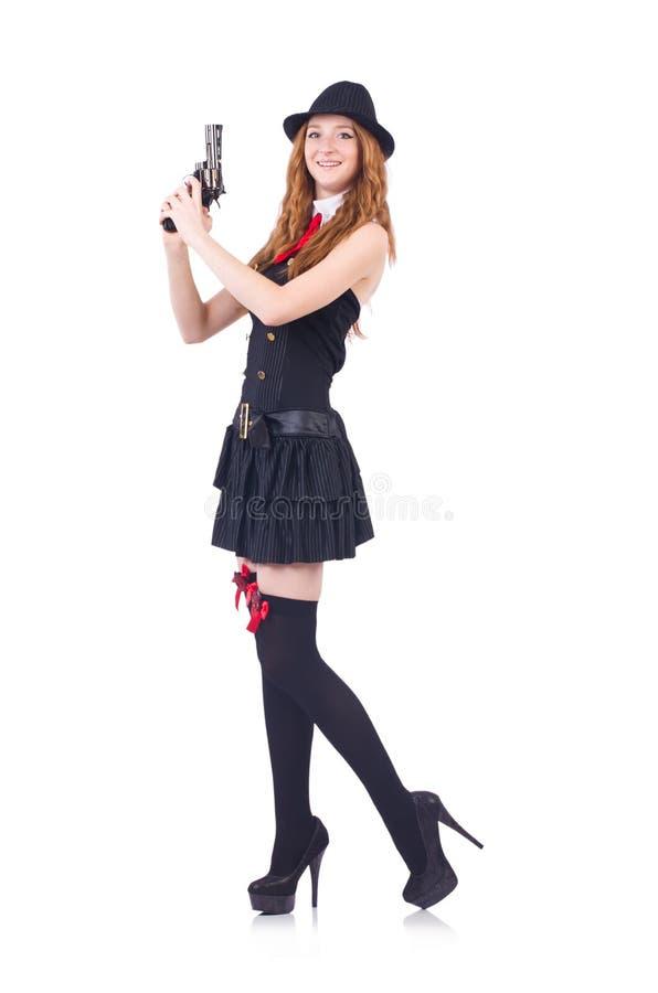 Donna vestita come gangster isolato fotografie stock libere da diritti
