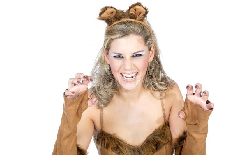 Donna vestita come gatto fotografia stock