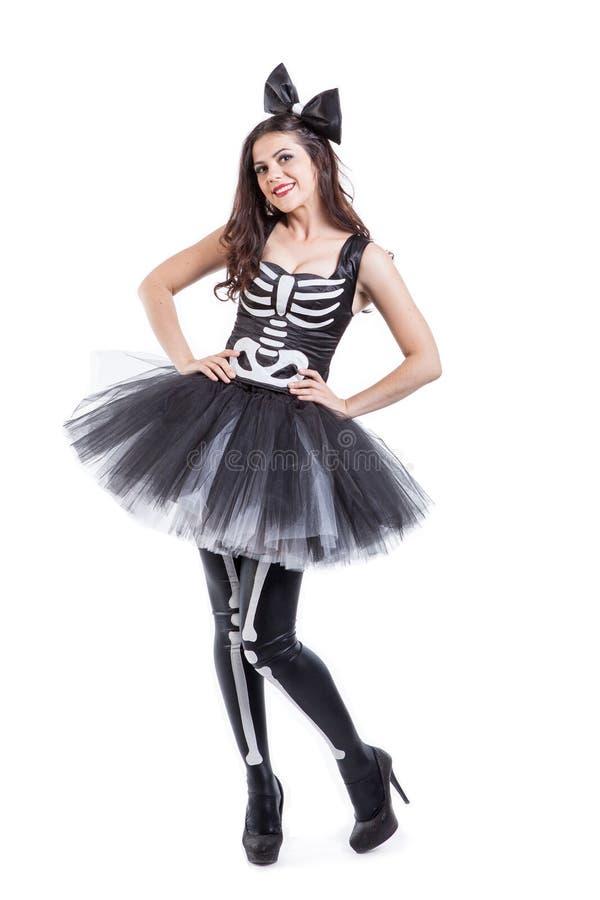 Donna vestita in costume dello scheletro di carnevale fotografie stock