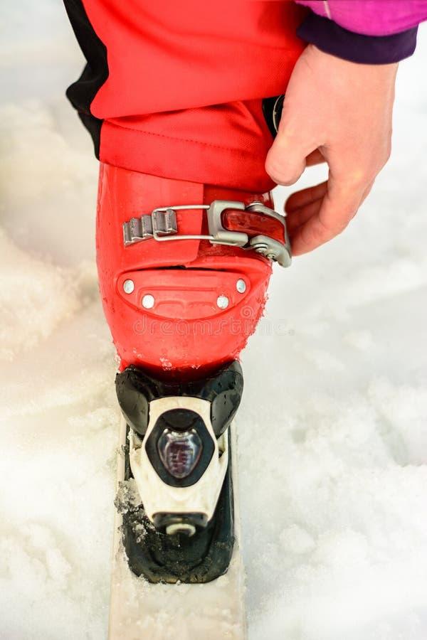 Donna in vestiti di rossi carmini che indossano le calzature dello sci per sciare fotografia stock