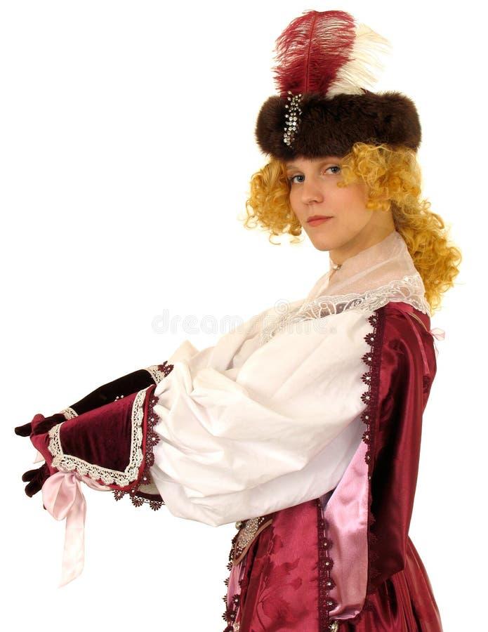 Donna in vestiti polacchi del secolo 17 fotografie stock libere da diritti
