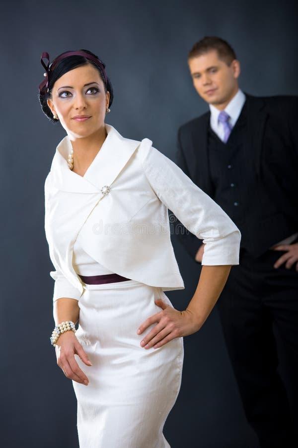Donna in vestito da cocktail fotografia stock