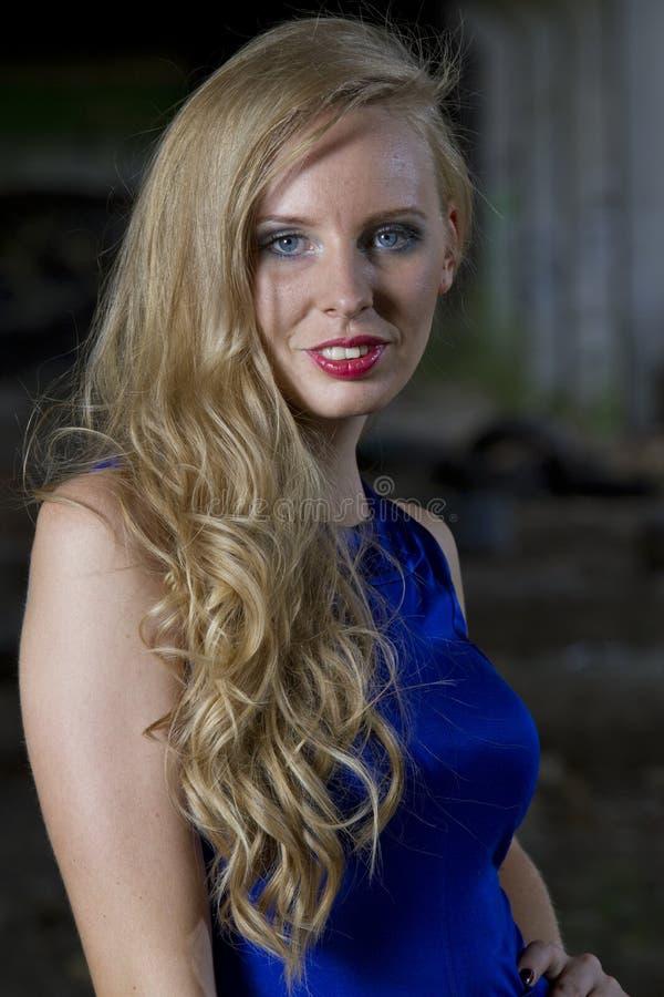 Donna in vestito da cocktail blu fotografie stock libere da diritti