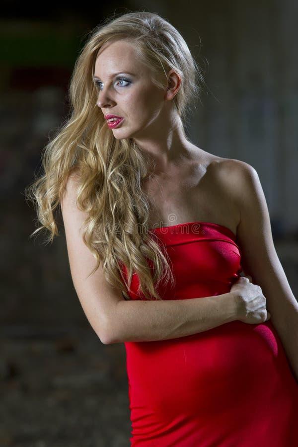 Donna in vestito da cocktail rosso immagini stock