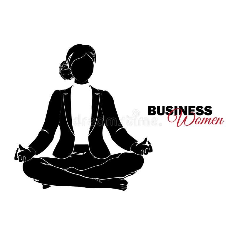 Donna in vestito di affari La donna di affari medita, donna di affari in una posa del loto royalty illustrazione gratis