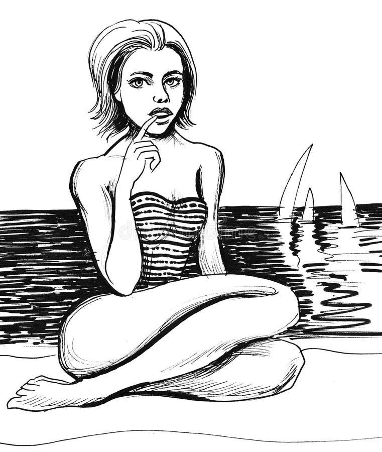 donna in vestito di nuoto illustrazione vettoriale