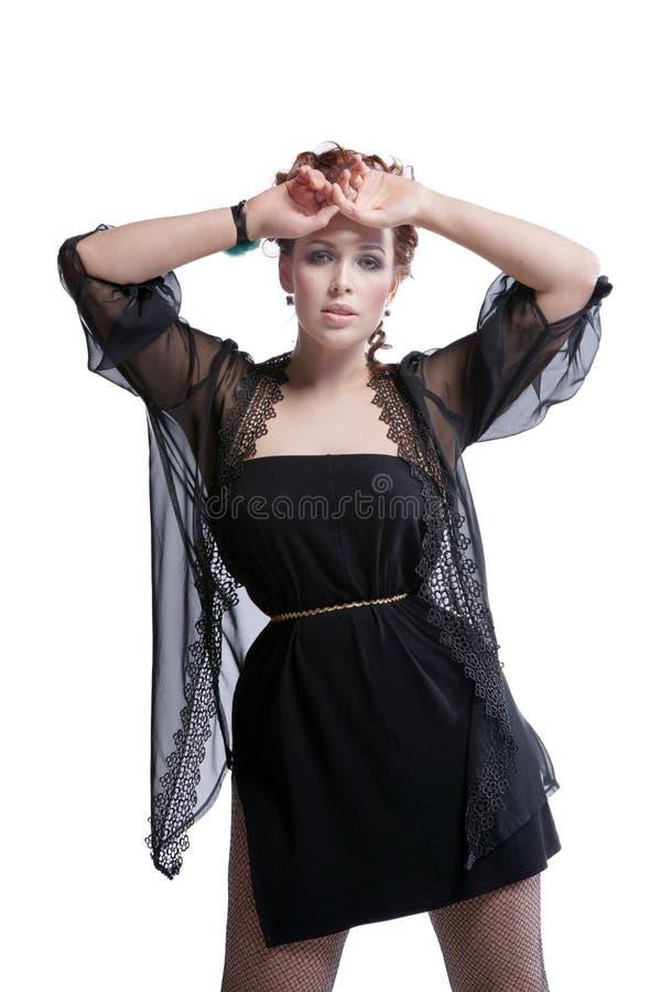 Donna in vestito nero fotografie stock libere da diritti
