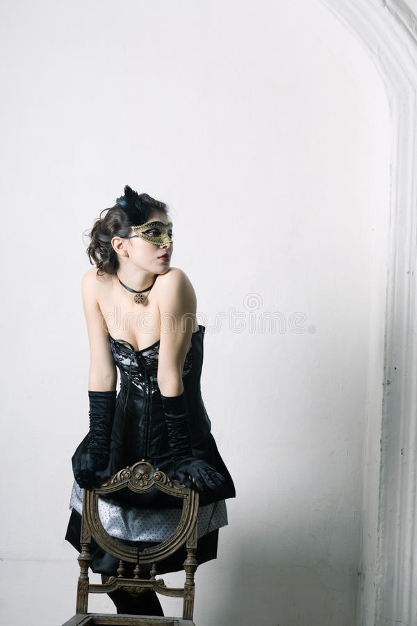 Donna in vestito operato fotografia stock libera da diritti