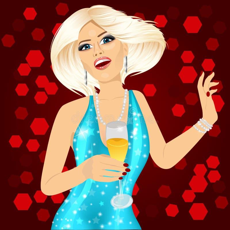 Donna Elegante Bionda Con Champagne Illustrazione ...