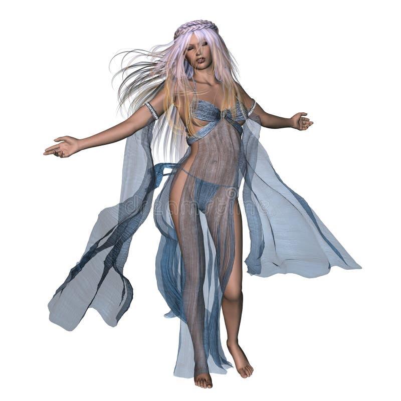 Donna in vestito scorrente illustrazione di stock