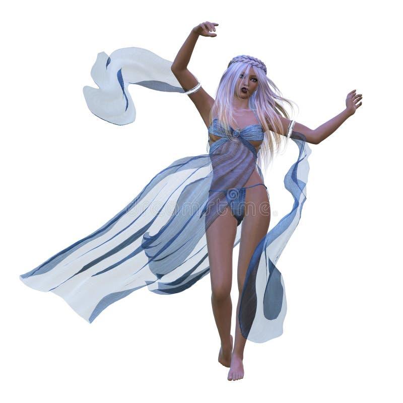 Donna in vestito scorrente illustrazione vettoriale